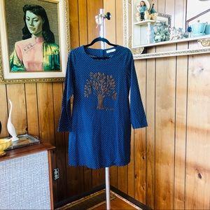 Navy Cotton Textured Tree Dress! 🌳
